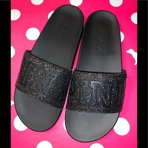 Victoria's Secret Pink Black Glitter Strap Slide